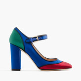 J.Crew Mary Jane pumps in colorblock satin