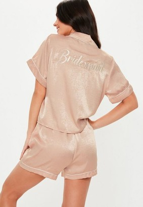Missguided Blush Satin Bridesmaid Short Sleeve Pyjama Set