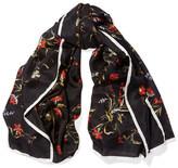 Balenciaga Floral-print Silk-twill Scarf - Black