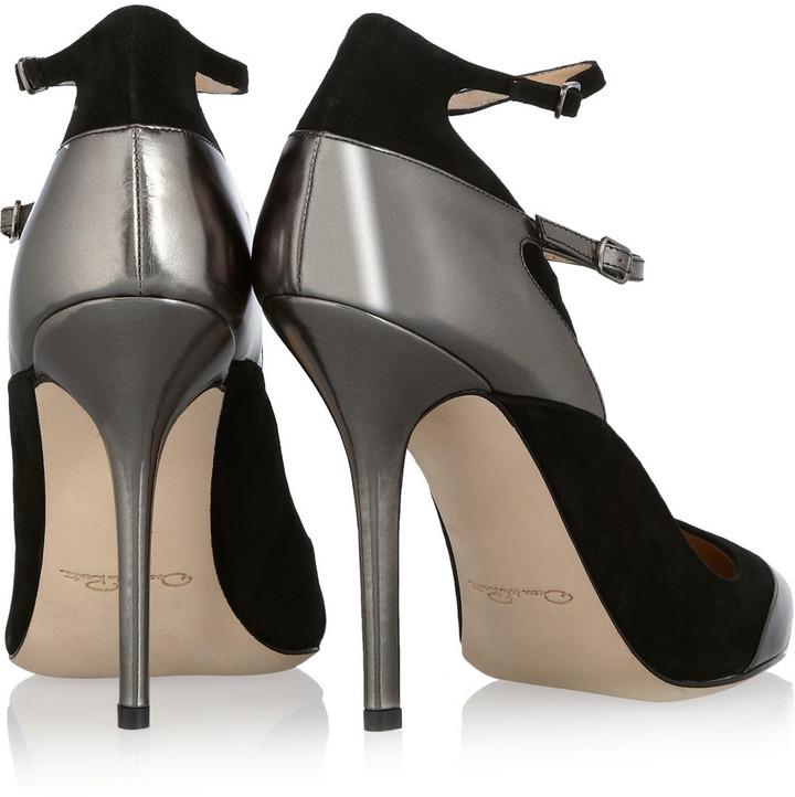 Oscar de la Renta Metallic polished-leather and suede pumps