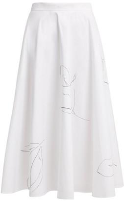 Merlette New York Kew A-line Cotton-poplin Skirt - White Print