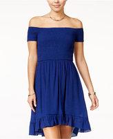 Amy Byer Juniors' Off-The-Shoulder Fit & Flare Dress