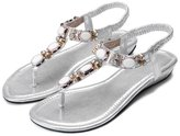 Katypeny Women's Summer Bohemia Style Rhinestones Thong Sandals Clip Toe Flip Flop Flats Slingback Shoes 9 M US