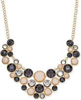 INC International Concepts Gold-Tone Jet and Neutral Multi-Stone Statement Necklace, Only at Macy's