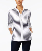 Karen Scott Striped Lounge Jacket, Only at Macy's
