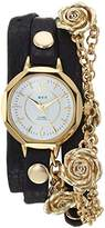 La Mer Women's Quartz Gold-Tone and Leather Casual Watch, Color:Black (Model: LMDELMAR7003)