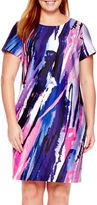 Donna Ricco DR Collection Short-Sleeve Print Scuba Sheath Dress - Plus