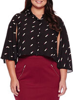 Boutique + Ashley Nell Tipton for Boutique+ Cropped Long-Sleeve Button-Down Shirt - Plus
