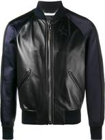 Givenchy star logo leather and silk bomber jacket - men - Silk/Cotton/Lamb Skin/Viscose - 48