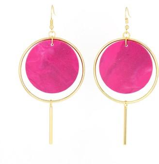 Cura Jewellery Halo Earrings- Magenta