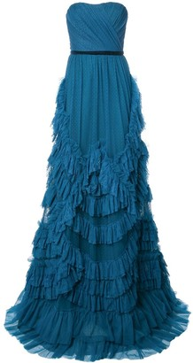 Marchesa Ruffled Strapless Dress