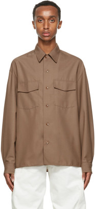Lemaire Brown Convertible Collar Shirt