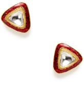 Amrapali Red Enamel & Diamond Triangle Stud Earrings