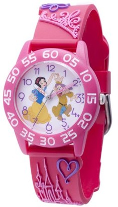 Disney Princess Snow White Girls' Pink Plastic Time Teacher Watch, Pink 3D Plastic Strap