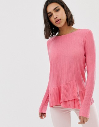 Pieces Long Sleeve Frill Top-Pink