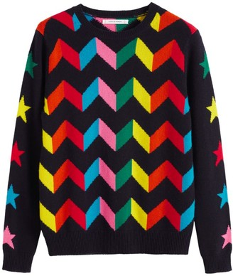 Chinti and Parker Rainbow Chevron Cashmere Sweater