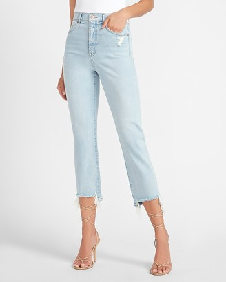 Express Super High Waisted Ripped Raw Step Hem Straight Jeans