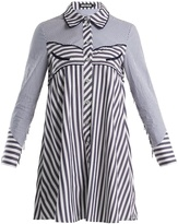 House of Holland Contrast-striped point-collar cotton shirtdress