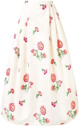 Andrew Gn Floral-Print Ballon Skirt