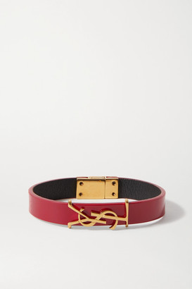 Saint Laurent Patent-leather And Gold-tone Bracelet - Red