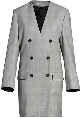 Balenciaga Prince Of Wales Wool Blazer Dress