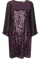 Dorothy Perkins Womens **Billie & Blossom Petite Blackcurrant Kimono Sleeve Shift Dress