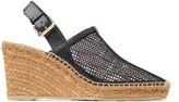 Jimmy Choo DAKORI 90 Black Honeycomb Net and Nappa Leather Slingback Wedge Sandals