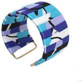 Overstock Goldtone Cool Colors Fabric Designed Cuff Bracelet