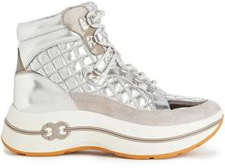 Tory Burch Gemini Link Metallic Quilted Shell, Suede And Leather Platform Ankle Boots