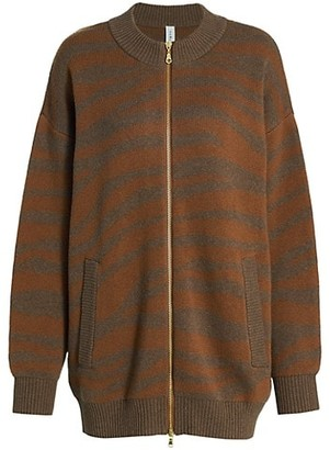 Varley Mayberry Striped Zip-Front Wool-Blend Sweater