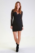 Nightcap Clothing Deep V Long Sleeve Victorian Dress in Black