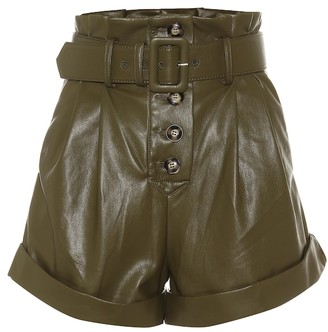 Self-Portrait High-rise faux-leather paperbag shorts
