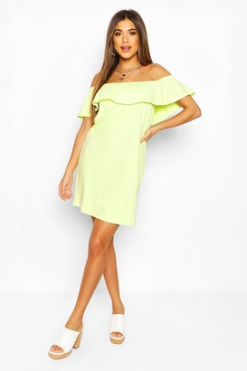 boohoo Off The Shoulder Frill Swing Dress
