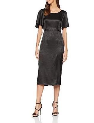 Glamorous Women's Ladies Black Satin Evening Dress Dress,(Manufacturer Size:)