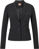 HUGO BOSS - Stretch wool jacket with narrow lapels - Black