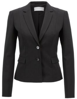 HUGO BOSS Stretch Wool Jacket With Narrow Lapels - Black