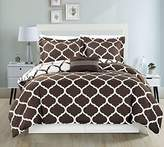 Chezmoi Collection 4-piece Soft Microfiber Geo Quatrefoil Trellis Lattice Reversible Comforter Set (King, Coffee)