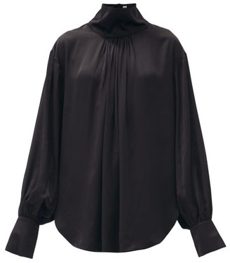Totême Arnel Stand-collar Satin Blouse - Black