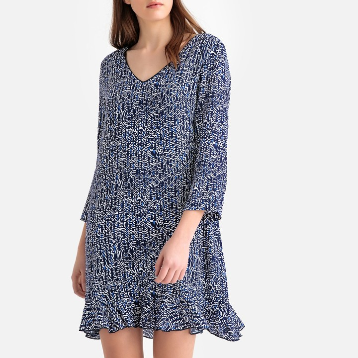 Suncoo Graphic Print Short Shift Dress with Back Detail