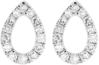 Carriere Sterling Silver Pave Diamond Open Teardrop Stud Earrings - 0.10 ctw