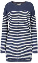 Fat Face Suzie Swing Longline Striped Jumper, Navy