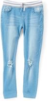 Dollhouse Light Indigo Stripe-Waistband Super Stretch Jeans - Girls