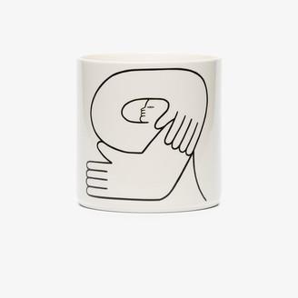 Louise Madzia White Encircle porcelain plant pot