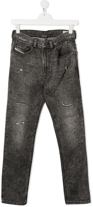 Diesel TEEN straight-leg acid-wash jeans