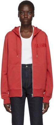 Helmut Lang Red Standard Zipped Hoodie