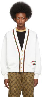 Gucci White Jersey Cardigan