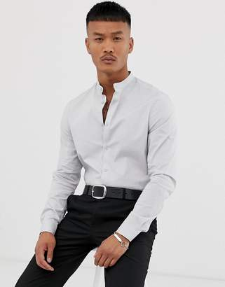 Asos Design DESIGN poplin slim fit shirt in light grey with grandad collar