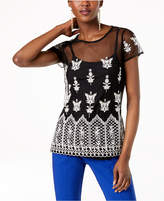 INC International Concepts I.N.C. Embroidered Sheer Top, Created for Macy's