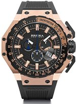 Brera Orologi BRGTC5408 Gran Turismo Swiss Made Ronda 5030.D Dial Rose Gold Tone Black Rubber Strap Watch