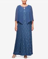 Alex Evenings Plus Size Sequin Lace Capelet Gown